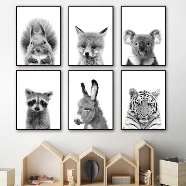 Black And White Raccoon Fox Koala squirrel Wall Art Canvas Painting Nordic Posters And Prints Wall Pictures Baby Kids Room Decor
