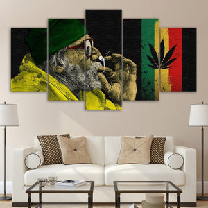 ArtSailing 5 piece canvas art HD print weed picture with the old man smoking painting for living room weeds poster home decor