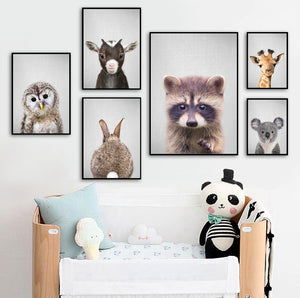 Giraffe Rabbit Owl Sheep Raccoon Nursery Nordic Posters And Prints Wall Art Canvas Painting Wall Pictures Baby Kids Room Decor
