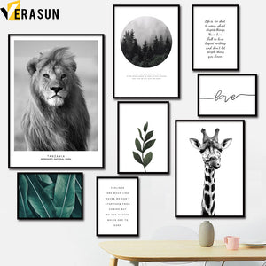 Lion Giraffe Forest Plant Leaves Quotes Wall Art Canvas Painting Nordic Posters And Prints Wall Pictures For Living Room Decor