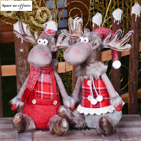 Christmas Decorations for Home Red Elk Dolls Wedding New Year Xmas Decor Lovely Figures Sitting Toys Kids Festival Gift Kerst