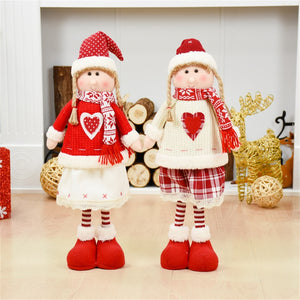 Red Christmas Dolls Christmas Decoration for Home Santa Claus Snowman Toys Xmas Gift Figurines Adornos De Navidad Para Casa
