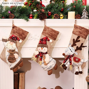 Christmas Decorations Free 2020 Christmas Stocking Clthes Santa Socks Christmas Gift For New Year Candy Gift Bags For Kids