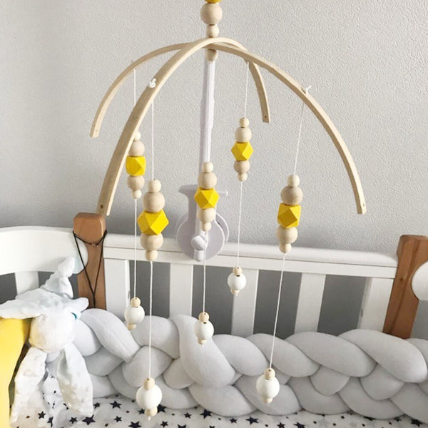 Colorful Wooden Beads Wind Chimes Bed Bell Rotating Baby Rattles Crib Mobiles Holder Arm Bracket Music Hanging Decor Tent Decor