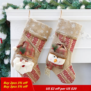 DIY Hanging ornament Christmas Stockings  Christmas Decorations For Home christmas stockings gift bag