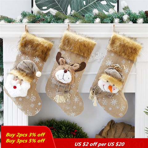 Cotton material Christmas Socks Cotton material Christmas Decorations For Home 45cm Christmas Stockings for gift