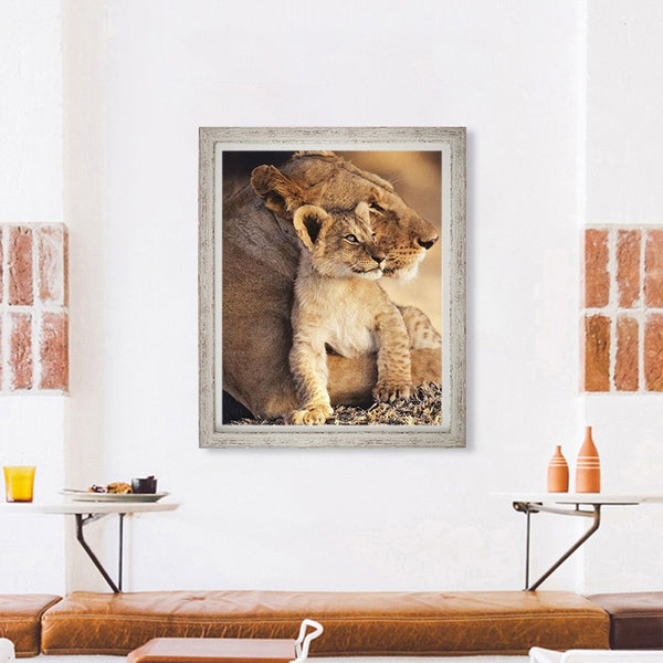 Wild Animal 5D Diamond Painting Cross Stitch Kit Handmade Mom Love Tiger Lion Wall Sticker Mosaic Diamond Embroidery Painting