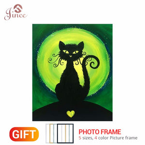 Framed 5D DIY Diamond Painting Green Moon Black Cat Cross Stitch Full Square/Round Diamond Painting Rhinestones Unique Gift