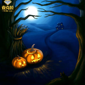 Halloween Full Mosaic Drill Resin 5D Diy Diamond Painting Embroidery Cross Stitch Kit Pumpkin Landscape Needlework Decor