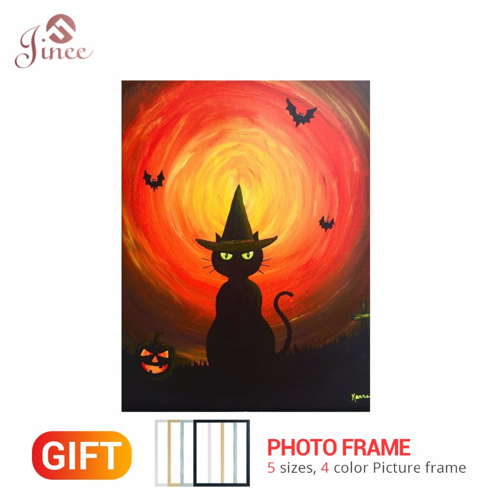 "Full Round Drill 5D DIY Diamond Painting ""Halloween Cat Bat"" Embroidery Cross Stitch 5D Home Decor Gift Framed"