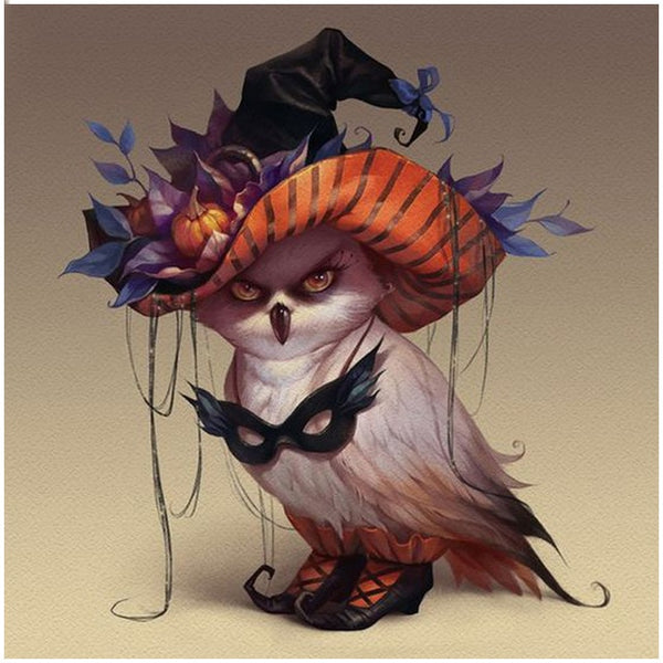 Diamond Mosaic Halloween Witch Owl Rhinestones Diamond Embroidery Full Drill Animals Painting Cross Stitch Resin Drill Handmade