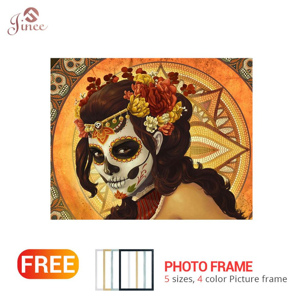 DIY Diamond Embroidery Sungar Skull Woman Full Drilling Cross Stitch Diamond Painting Festival Gift Handmade Art with Frame