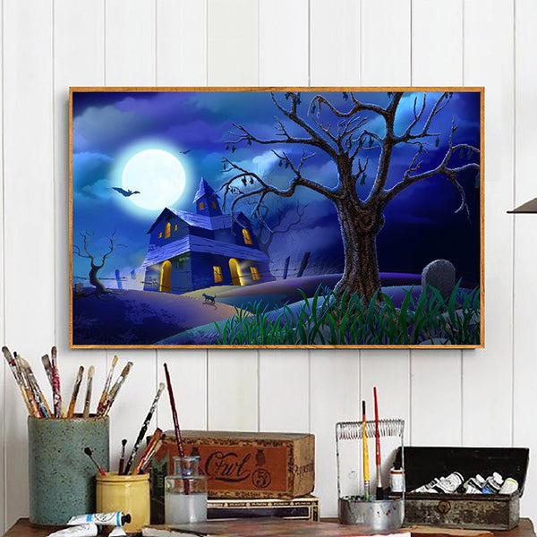 Framed DIY Diamond Painting Halloween Cross Stitch Witch Pumpkin Needlework Home Decor Full Rhinestone 2019 Diamond Embroidery