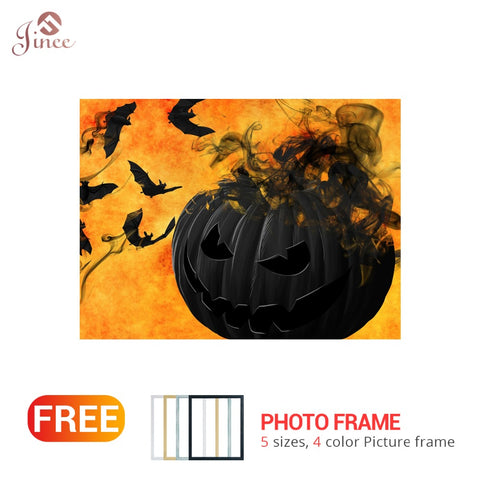 "Full Square Round Drill 5D DIY Diamond Painting ""Halloween Pumpkin Bat"" 3D Embroidery Cross Stitch 5D Home Decor with Frame"