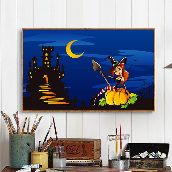 Framed Halloween Gift DIY Diamond Painting Pumpkin Head Sticker Full Drill Diamond Embroidery Diamond 5d Black Cat Ghost Decor