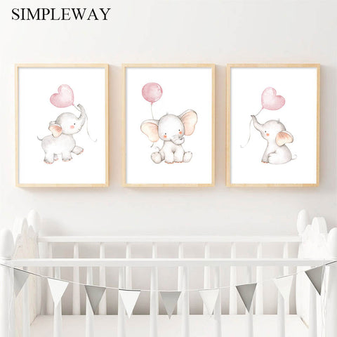 Nursery Wall Art Children Poster Elephant Balloon Print Canvas Painting