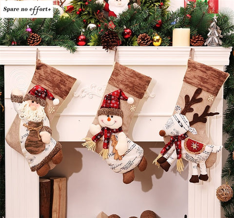 Santa Claus Snowman Christmas Stockings Natal Candy Gift Bag Christmas Socks Decoration New Year christmas tree decorations