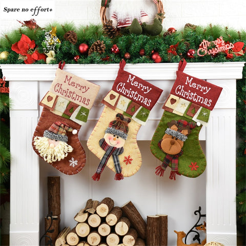 Christmas Stockings Natal Santa Claus Snowman Christmas Gift Bags christmas decorations for home Kid New Year Gift Navidad