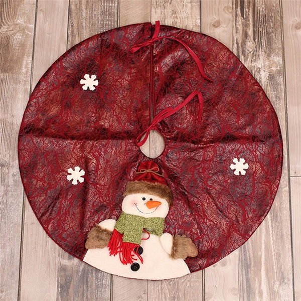 Christmas Tree Skirt Santa Claus Snowman Skirt 60cm Christmas Tree Mat Round Carpet Under The Tree Home Decor Merry Christmas