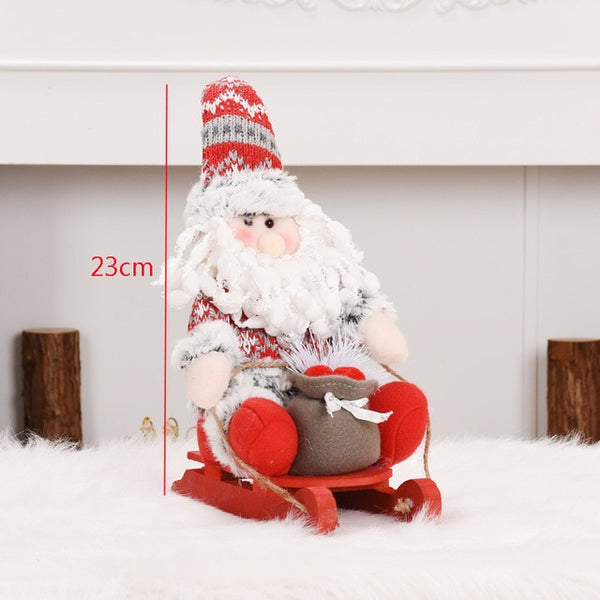 Festival Gift Sled Santa Claus Snowman Elk Figures Christmas Decorations for Home Dolls Kids Toy Happy New Year Supplies Kerst