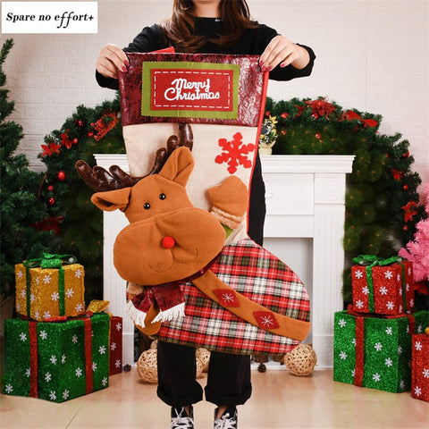 Santa Claus Snowman Elk Christmas Stockings Gift Holders Candy Bags Christmas Tree Decoration Kids Gift Santa Sack Natale Regali