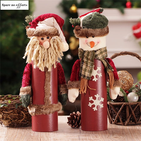 Natal Santa Claus Snowman christmas decorations for home Wine Bottle Box Desktop christmas ornaments New Year adornos de navidad