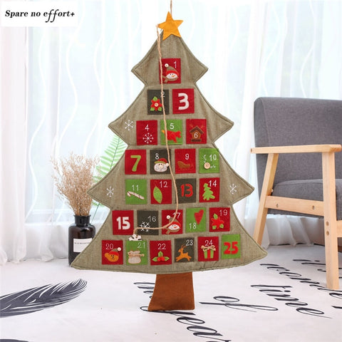 1pc Hanging Christmas Advent Calendar Countdown To Christmas Tree Gift Ornaments Decorations Santa Claus Calendar With Pockets