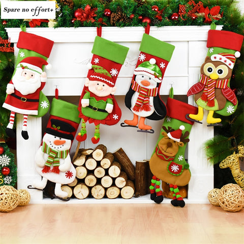 Natal Santa Claus Snowman Christmas Stockings christmas tree decorations Xmas Pendant Christmas Gift Bag navidad Gift Holders