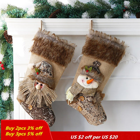 20*40cm stocking christmas Santa Claus Snowman christmas decorations for home cute christmas party supplies