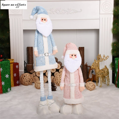 New Style Natal Retractable Standing Figurine Christmas Doll Christmas Decoration Shining Santa Claus Snowman Kids New Year Gift
