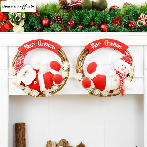 Christmas Tree Decorations Christmas Wreath Door Wall Hanging Ornaments Santa Cluas Snowman Garland Kerstkrans Ghirlanda Natale