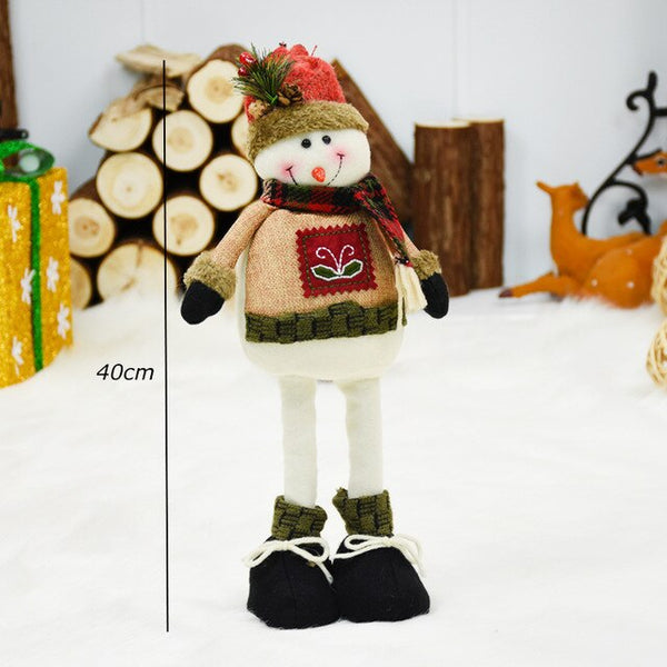 Christmas Decor for New Year Christmas Retractable Doll Santa Claus Snowman Elk Figurines Toy for Kids Reindeer Ornament Natal