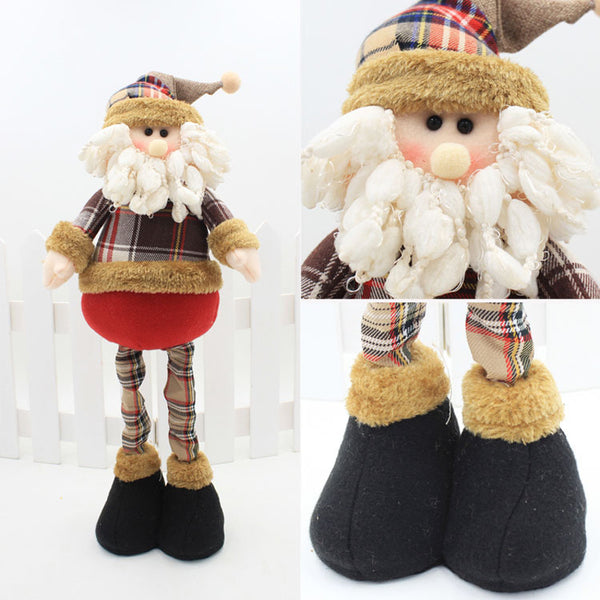 47cm Christmas Dolls Retractable Santa Claus Snowman elk Natal Figurine christmas tree decorations New Year adornos de navidad