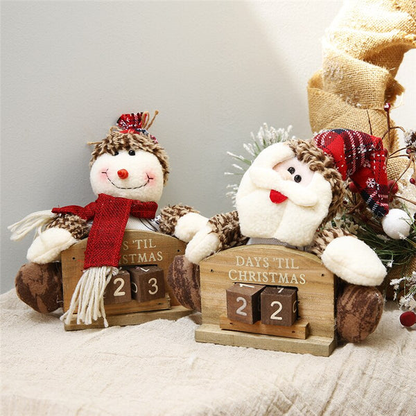 Christmas Advent Calendar Wooden Mini Cabin Elk Christmas Ornaments DIY New Year Countdown Home Decor Chocolate Displays