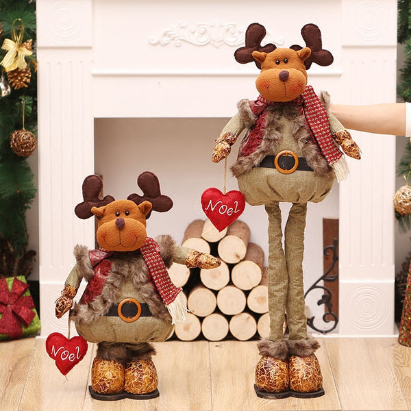 Christmas Goods Large Standing Santa Claus Toys Retactable Long Leg Snowman Dolls New Year Decoration Adornos Navidad