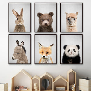 Rabbit Fox Bear Llama Panda Donkey Nordic Posters And Prints Nursery Wall Art Canvas Painting Wall Picture Baby Kids Room Decor