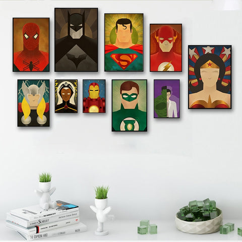 Cartoon Superhero Movie Posters Batman Spider Avenger Alliance Pictures Canvas Painting Children's room decoration Wall Art
