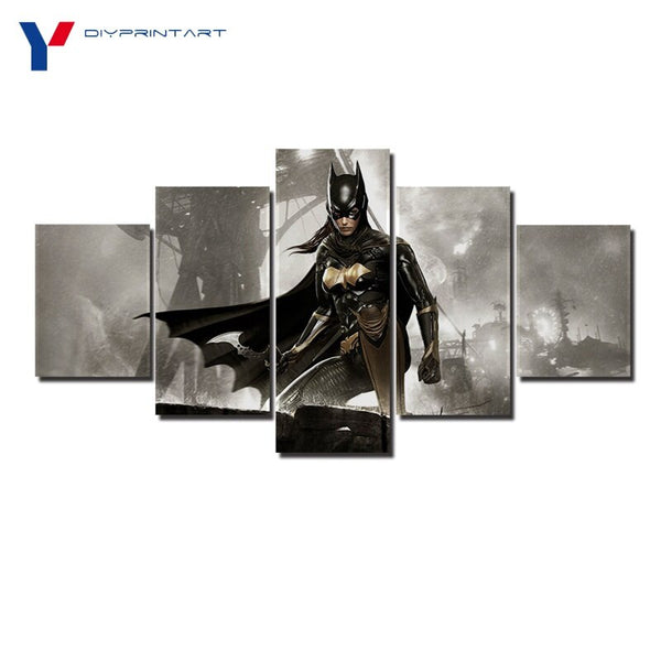 Batgirl Batman Arkham Knight 5 Panel Canvas Wall Art Picture for Wall Decoration A0814