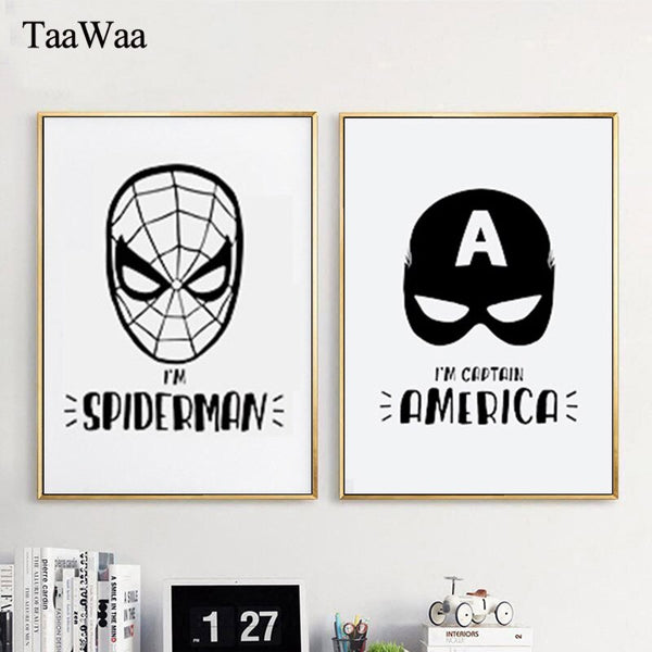 American Captain Ironman Spiderman Batman Canvas Wall Art Super Hero Painting Print Nordic Cartoon Pictures for kids Room Decor