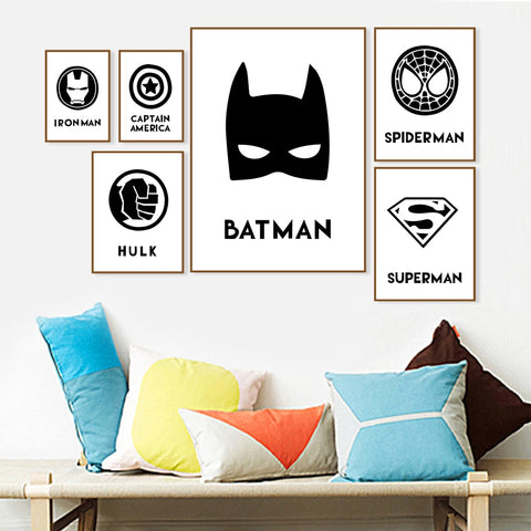 Batman Spider Man Captain America Superhero Wall Art Canvas Painting Nordic Posters And Prints Wall Pictures For Kids Room Decor