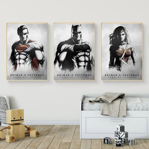 Batman Vs Superman-Dawn Of Justice Wonder Woman Poster Painting On Canvas Bedroom Wall Art Decoration Pictures Home Decor