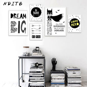Nursery Quote Canvas Poster Black White Print Cartoon Batman Wall Art Painting Nordic Decoration Picture Baby Kids Bedroom Decor