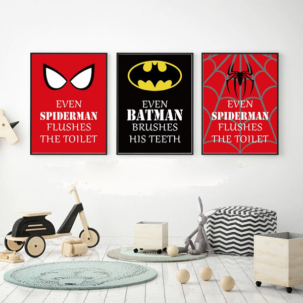 Superhero Batman Spider-Man The Hulk Toilet  Wall Art Canvas Painting Nordic Posters and Prints Wall Pictures for Bathroom Decor