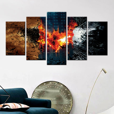 Modern Canvas Painting Framework HD Printed Wall Art Pictures 5 Pieces Cool Batman Movie Characters Poster Room Home Decoration