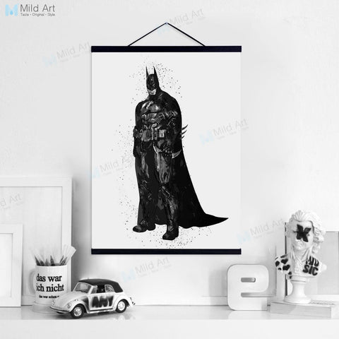 Black Batman Robin Movie Fan Super Heros Wooden Framed Hanger Poster Boy Room Wall Art Picture Home Decor Canvas Painting Scroll