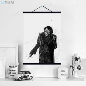 Black Batman Joker Dark Knight Wooden Framed Hanger Poster Super Heros Movie Wall Art Pictures Home Decor Canvas Painting Scroll