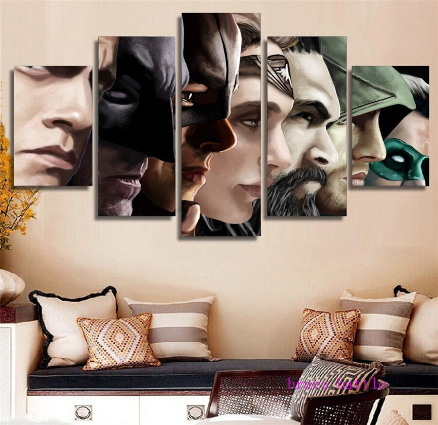 Superman Batman Arrow Wonder Woman 5 Pieces Canvas Painting Print Livi Retrodora
