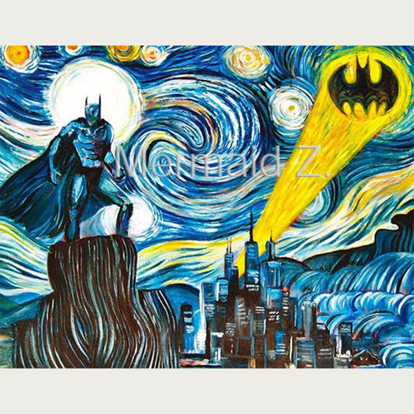 100% hand-painted art abstract oil painting Batman Starry Night Over the Rhone Vincent Willem Van Gogh the wall living room