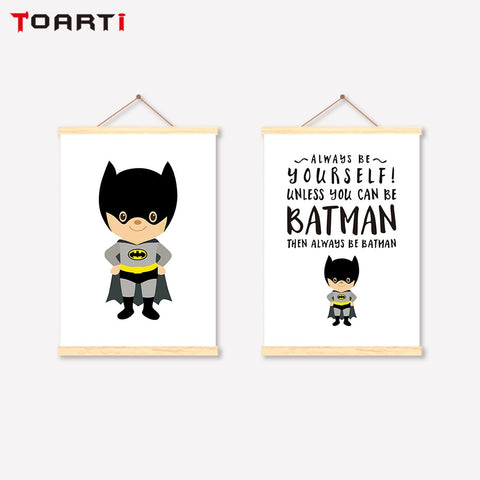 Superhero Scroll Canvas Painting Batman Quotes Prints Posters Modern Hanger Art Pictures For Kids Nursery Room Home Decoration