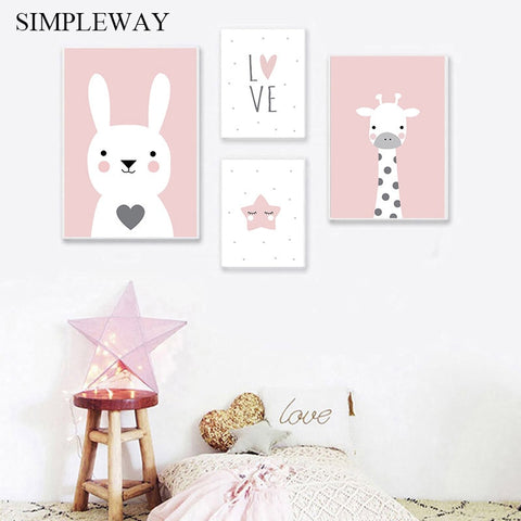 Nursery Wall Art Canvas Print Poster Pink Cartoon Animal Giraffe Bunny Painting